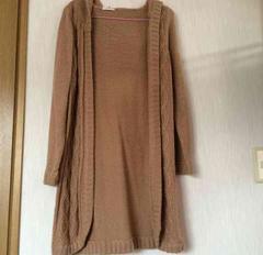 鍵編み花柄刺繍・ロングカーデガン・グレーベージュ