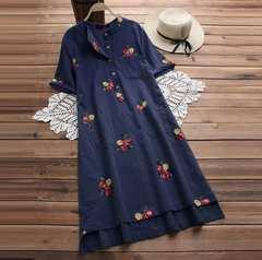 新品大きいサイズ6L〜8L ゆったり薔薇刺繍ワンピース 紺