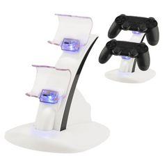PS4 コントローラーLED充電スタンド  miniUSB  2台同時充電 白色