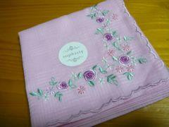 ブルーミング中西小花刺繍ピンクカラーハンカチ