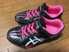 運動靴/シューズ☆19.0センチ、黒×ピンク、中古