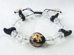 8849/稀少品の水晶数珠ブレスレットです彫刻入り素晴らしいアイテム