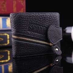 送料無:多機能 牛革二つ折り財布 小物入 小銭入・カード入7枚