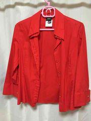 ヴェルサーチジーンズクチュールversace赤ブラウス美品mサイズ