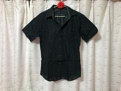 メンズ Nota Bene ブラック シャツ シルバー ストライプライン M