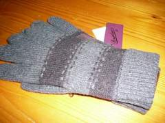 ボルサリーノニット手袋カーキ部分皮革 裏暖か起毛