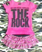 レイアリスROCKピンクTシャツ&韓国子供服チェックフリルミニスカートセットスカパン