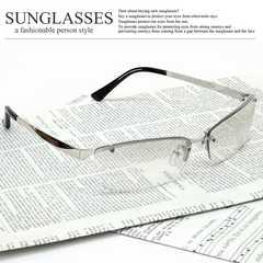 新品 オラオラ系 リームレス型 サングラス メンズ UVカット チョイワル系 伊達眼鏡 メガネ