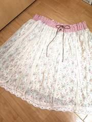 新品大きい8L10L花柄レースとチュールふわふわ姫可愛いスカート
