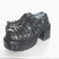 Yosuke-Shoes★厚底-皮革靴★黒-コスプレ-V系-ゴシック-ROCK-PUNK-ロック