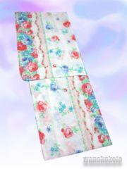 【和の志】女性用変り織り浴衣◇F◇白系・薔薇◇KWF628-17
