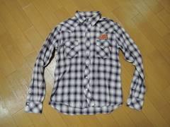 マーブルズMARBLESラメチェックシャツL薄手ワッペン刺繍TMT