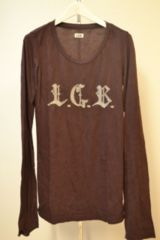 LGBルグランブルー 皺加工ロゴ刺繍カットソー ロンTシャツ 0