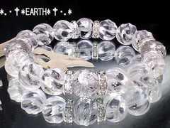 天然石★12ミリ銀色彫四神獣水晶&Sライン螺旋彫り水晶数珠