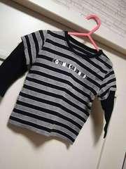 コムサイズム80★黒白ボーダー柄 厚手長袖カットソー Tシャツ