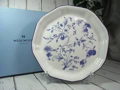500スタ本物新品ウエッジウッドブループラムオクタゴナルディシュ お皿約24.5cm