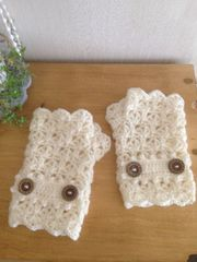 ♪手編み♪  松編みハンドウォーマー   オフホワイト