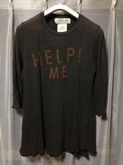 レミレリーフ 五分袖Tシャツ カットソー Sサイズ ユーズド加工 黒 日本製 七分袖ロンT