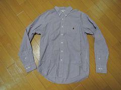 APEclassicsエイプ薄手ギンガムチェックシャツL紫白系