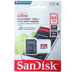 4K動画対応 超速100MB/s SANDISK 64GB microSDXC クラス10 SDアダ付