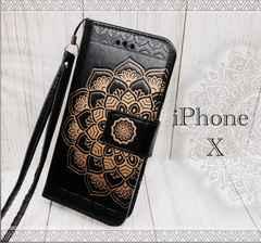 iPhone X 手帳型ケース ネイティブ ストラップ  フィルム 黒色