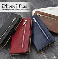 ■iPhone8Plus/7Plus用ファスナー&ポケット財布型ケース