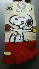 タグ付未使用 5本指靴下 スヌーピー ¥280