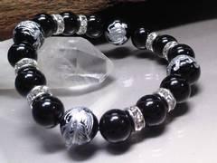 銀四神獣オニキス12ミリオニキス10ミリ銀ロンデル数珠