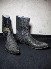 アルフレッドバニスター〓サイドジップクロコブーツ靴〓黒/44〓