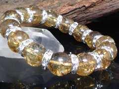 ゴールドクラック水晶§銀ロンデル12ミリ§数珠