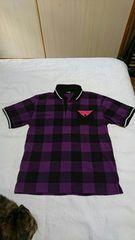 Men's パープル×ブラック チェック柄 ポロシャツ