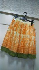 エスニック柄シフォン膝丈スカートペイズリー系アジアンスカート