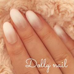 みぢょ!短めオーバル美爪パステルピンク純白ホワイト2色グラデーションネイル