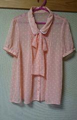 ◆美品◆シフォンボウタイブラウス ピンク×白ドット L