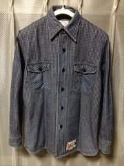 EVISU エヴィス 厚手長袖シャツ S 36 ユーズド加工 インディゴ紺 エビス日本製