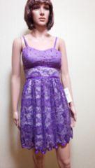 新品タグ付…胸元ビジュ&背編みチュールのドレスD9☆3点で即落