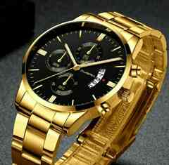 新品 デュアルタイプ CUENA 腕時計メンズ ゴールド
