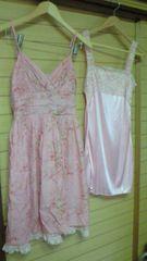 レストローズL'EST ROSEストライプ花柄ワンピースと花柄刺繍レーススリップのセット2WAY