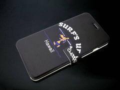 iPhone8/7手帳レザーケースSURF'S UPハワイ日焼けスヌーピー黒
