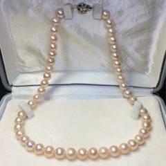 新品 pt プラチナ 本物真珠  ネックレス ピンク系 9ミリ