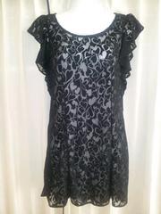 Languageランゲージ黒フリルハートシースルーワンピースドレス