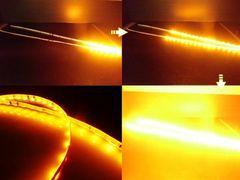 ウィンカーに!/光が流れるLEDテープライト/2本/アンバー/白基盤
