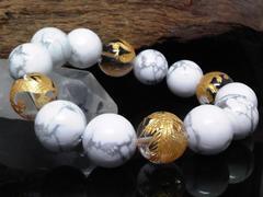 金四神獣水晶ハウライト14ミリ数珠