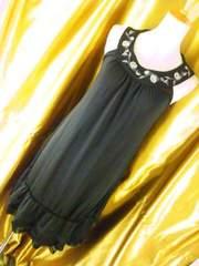 OzzOn人気薔薇刺繍ワンピースF黒