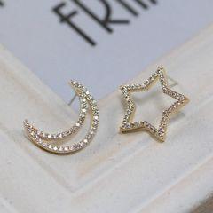 14Kゴールド鍍金 ダイヤスター月形不対称ピアス