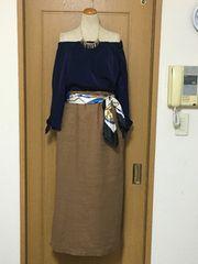 未使用 アースミュージック ブラウンカラーのベイカースカート♪
