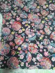 ☆新柄黒×桜牡丹鞠和柄ダボシャツM