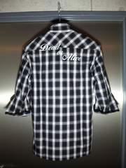 トルネードマート〓新品〓プリント入五分袖チェックシャツ
