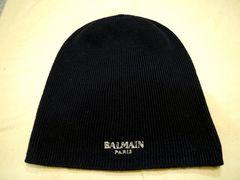 レア◆BALMAIN x H&M バルマン ロゴ刺繍 ウールニット キャップ