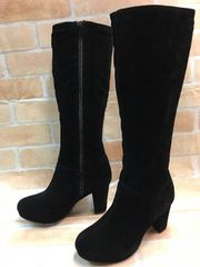 新品☆22.5cm幅E♪黒のロングブーツ♪わけあり☆s319